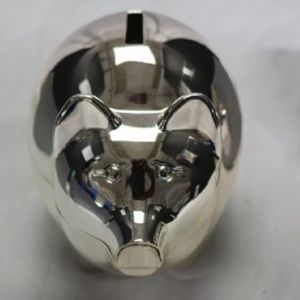 Stowes Jewelers Silver Plated Piggy Bank